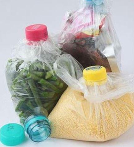 Seal plastic bags using plastic bottle
