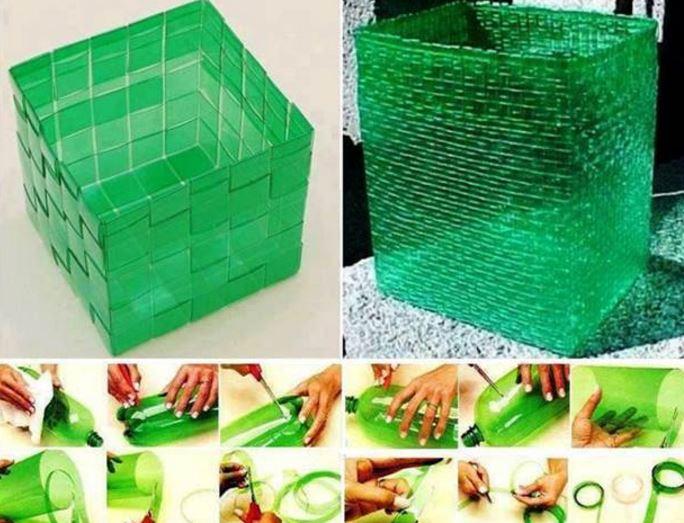 Weaving Basket plastic bottles