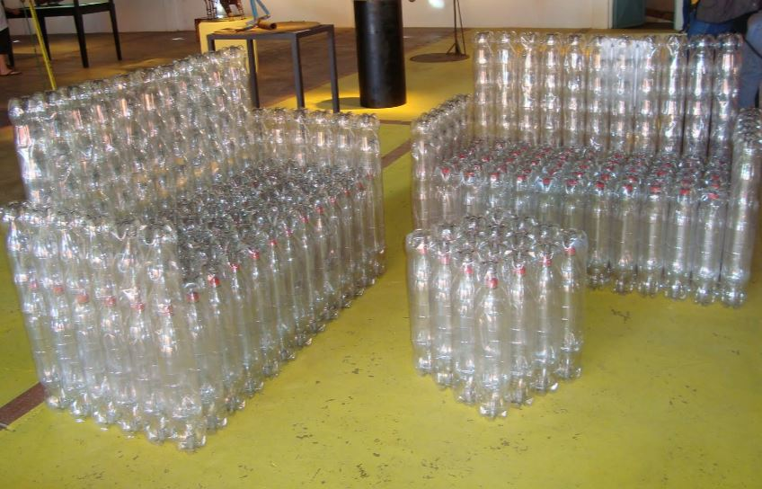 chairs and tables using plastic bottles